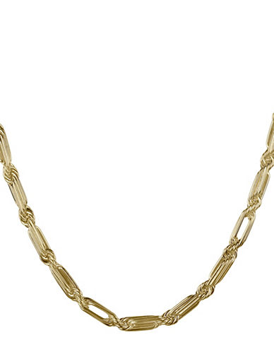 Fine Jewellery 14K Yellow Gold Multi Twist Oval Interlock Link Chain Necklace-GOLD-One Size