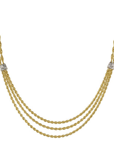 Fine Jewellery Hollow Diamond and 14K Yellow Gold Triple Rope Chain Necklace-GOLD-One Size