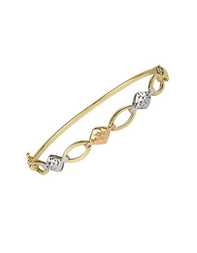 Fine Jewellery 14K Tri Tone Oval Link Diamond Design Bangle-TRI TONE-One Size