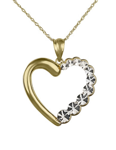 Fine Jewellery 14K Yellow Gold Open Heart Pendant Necklace-GOLD-One Size