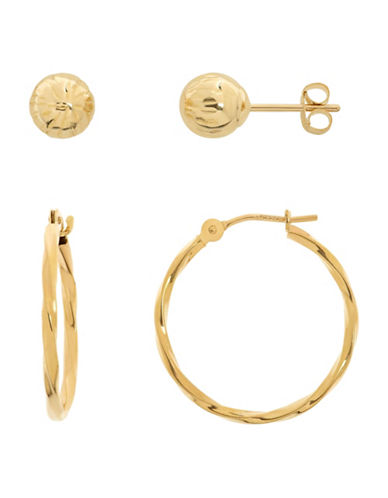 Fine Jewellery 14K Yellow Gold Twisted Hoop and Ball Earrings Set-YELLOW GOLD-One Size