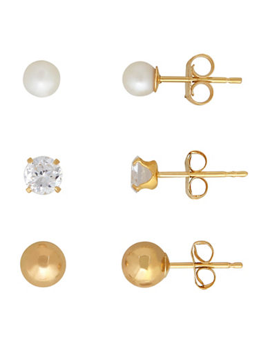 Fine Jewellery Three-Pair 14K Yellow Gold 4MM Freshwater Pearl and Ball Earrings Set-WHITE-One Size