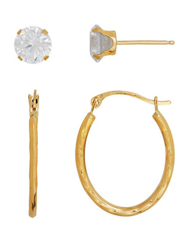 Fine Jewellery 14K Yellow Gold Oval Waved Hoop and Stud Earrings Set-YELLOW GOLD-One Size