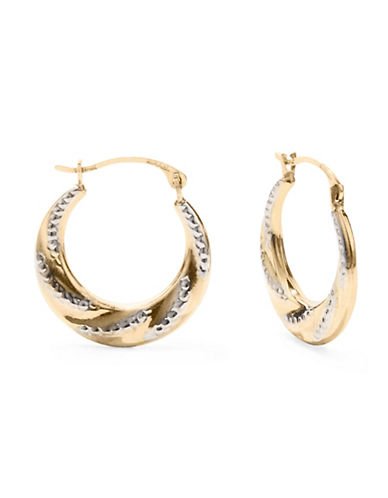 Fine Jewellery 14KT Yellow Gold Swirl Hoop Earrings-GOLD-One Size