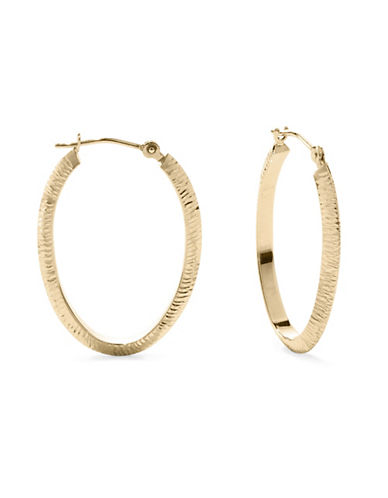 Fine Jewellery 10KT Yellow Gold Textured Hoop Earrings-GOLD-One Size