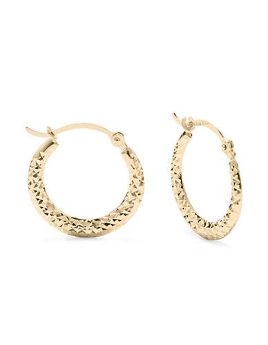 Fine Jewellery 14KT Yellow Gold Diamond-Cut Earrings-GOLD-One Size