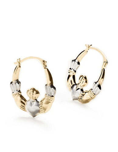 Fine Jewellery 10KT Two-Tone Gold Claddagh Hoop Earrings-GOLD-One Size