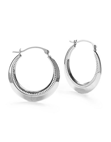 Fine Jewellery 10K White Gold Hoop Earrings-WHITE GOLD-One Size