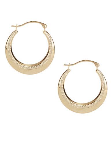 Fine Jewellery 10KT Yellow Gold Beaded Hoop Earrings-GOLD-One Size