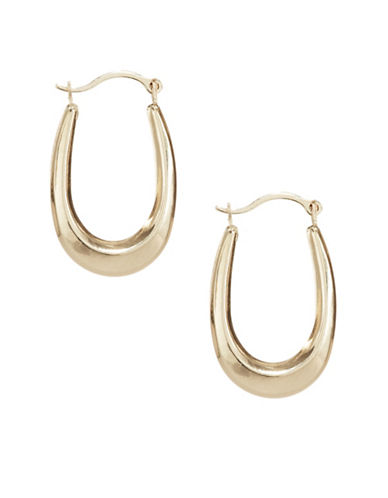 Fine Jewellery 10KT Yellow Gold Hoop Earrings-GOLD-One Size