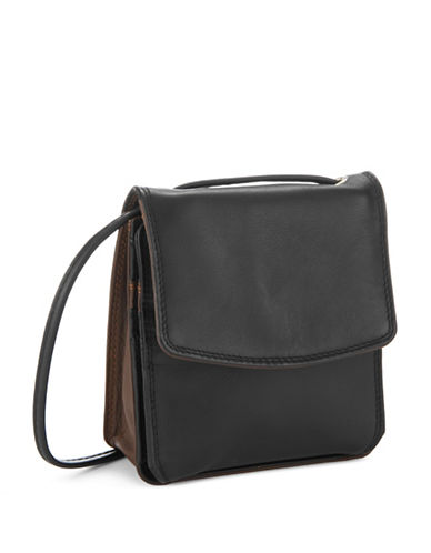 Derek Alexander Leather Mini Purse-BLACK/BROWN-One Size