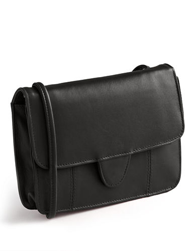Derek Alexander Foldover Leather Crossbody Bag-BLACK-One Size