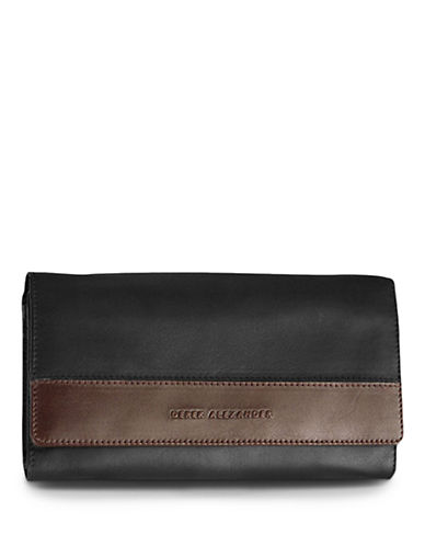 Derek Alexander Multi Compartment Clutch Ladies Wallet-BLACK/BROWN-One Size