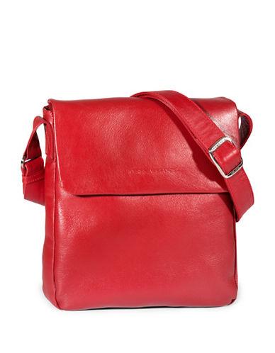 Derek Alexander Slim Flap Leather Shoulder Bag-RED-One Size