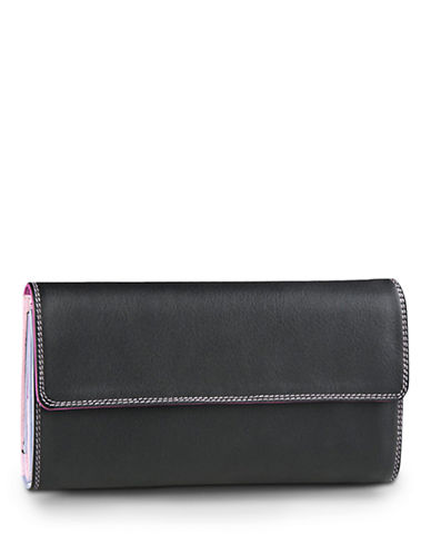 Derek Alexander Ladies Chequebook Clutch Wallet-BLACK/PURPLE-One Size