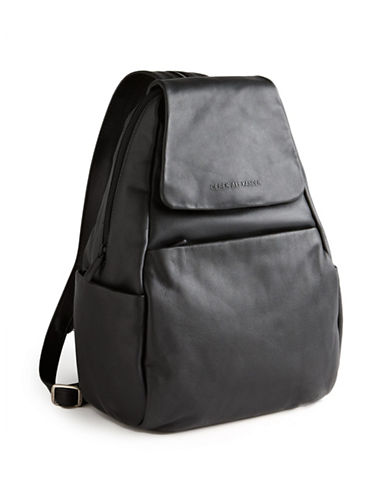 Derek Alexander Leather Flap Backpack-BLACK-One Size