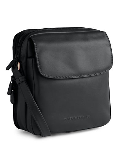 Derek Alexander Leather Top Zip Purse-BLACK/RED-One Size