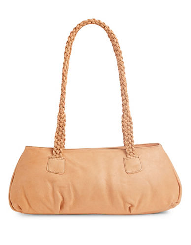 Derek Alexander Duffle Twin Zip Top Leather Shoulder Bag-BEIGE-One Size