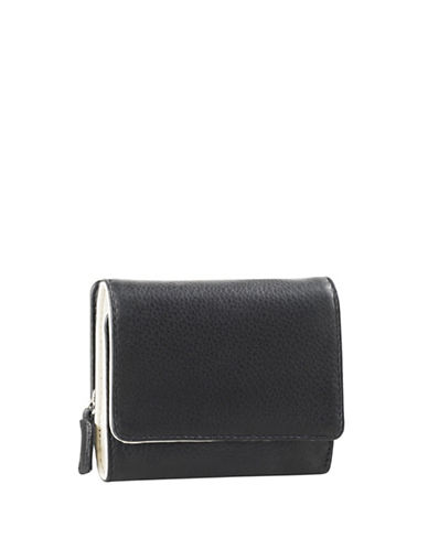 Derek Alexander Small Leather Tri-Fold Wallet-BLACK/BONE-One Size