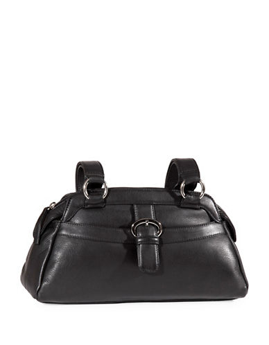 Derek Alexander Twin Shoulder Top Zip Leather Bag-BLACK-One Size