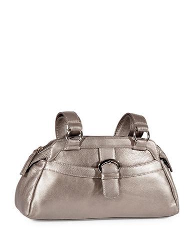 Derek Alexander Twin Shoulder Top Zip Leather Bag-SILVER-One Size