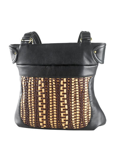 Derek Alexander Top Zip Woven Front Shoulder Bag-BLACK-One Size