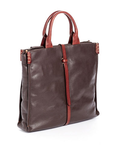 Derek Alexander Large Top Zip Tote-BROWN-One Size