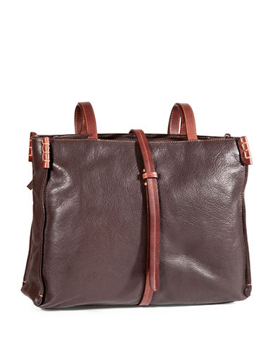Derek Alexander Textured Leather Tote-BROWN-One Size