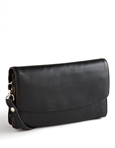 Derek Alexander Central Park Leather Organizer-BLACK-One Size