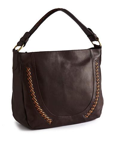 Derek Alexander Flashback Leather Handbag-DARK BROWN-One Size