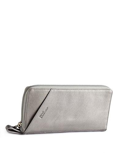 Derek Alexander Leather Travel Wallet-SILVER-One Size