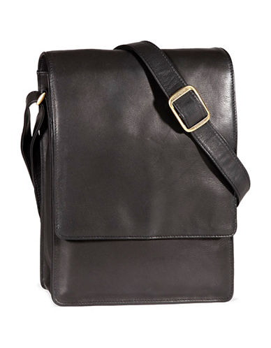Derek Alexander Leather Crossbody Organizer Bag-BLACK-One Size