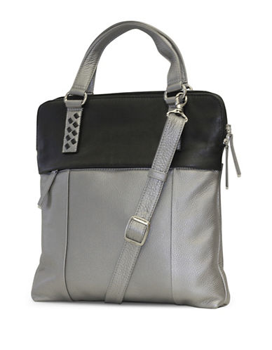 Derek Alexander Two-Tone Leather Handbag-SILVER-One Size