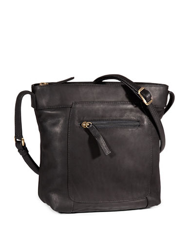 Derek Alexander Small Bucket Shaped Leather Crossbody Bag-BLACK-One Size