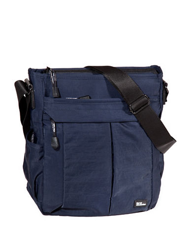 Derek Alexander Multi-Compartment Shoulder Bag-BLUE-One Size