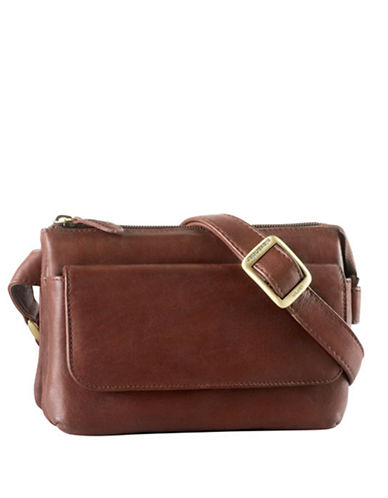 Derek Alexander Leather Top Zip Crossbody Bag-BROWN-One Size