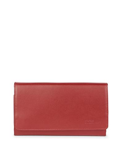 Derek Alexander Large Multi-Pocket Leather Clutch-RED-One Size
