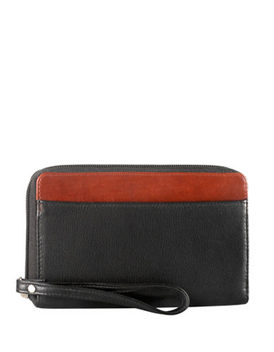 Derek Alexander Dual-Tone Zippered Leather Wallet-BLACK-One Size