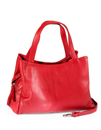Derek Alexander Medium Leather Satchel-RED-One Size