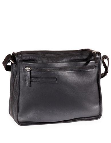 Derek Alexander Twin Zip Leather Shoulder Bag-BLACK-One Size