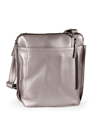 Derek Alexander Large Leather Crossbody Bag-SILVER-One Size