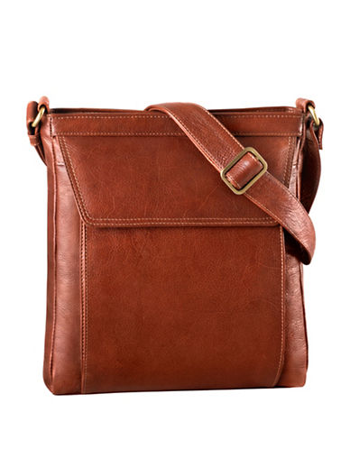 Derek Alexander Medium Unisex Tablet Leather Crossbody Bag-BROWN-One Size