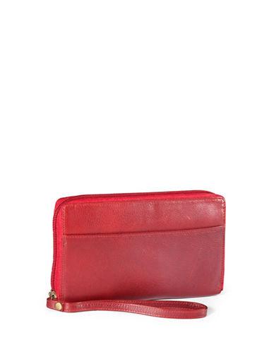 Derek Alexander Leather Zip Wallet-RED-One Size