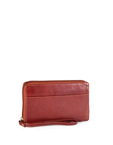 Derek Alexander Leather Zip Wallet-TAN-One Size
