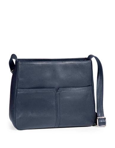 Derek Alexander Pebbled Leather Shoulder Bag-NAVY-One Size