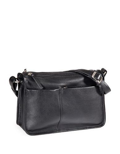 Derek Alexander Multi-Pocket Leather Shoulder Bag-BLACK-One Size