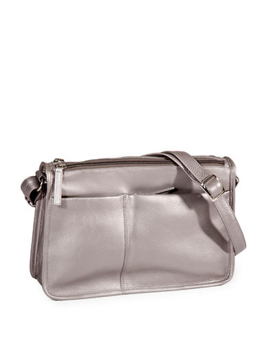 Derek Alexander Multi-Pocket Leather Shoulder Bag-SILVER-One Size