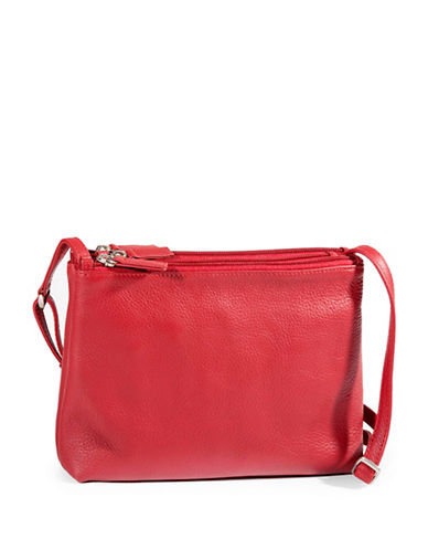 Derek Alexander Triple Zip Leather Crossbody Bag-RED-One Size