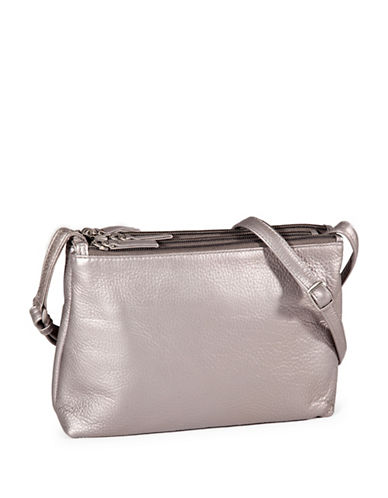 Derek Alexander Triple Zip Leather Crossbody Bag-SILVER-One Size