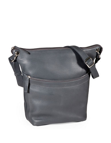 Derek Alexander North South Top Zip Slouch Handbag-GREY-One Size